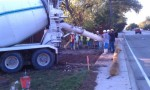 Pouring concrete at Preston Road and trail intersection